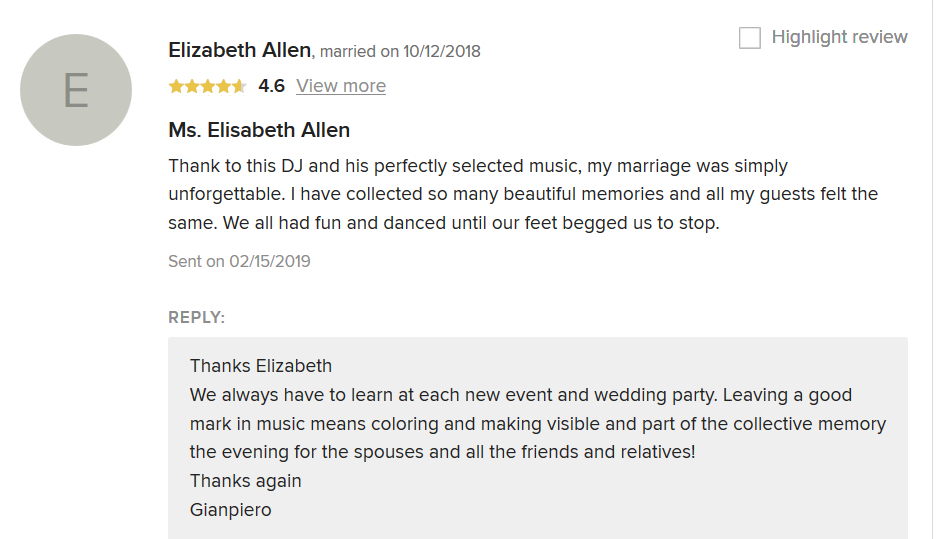 Wedding review to Romadjpianobar Dj Service by Elisabeth Allen, married in italy