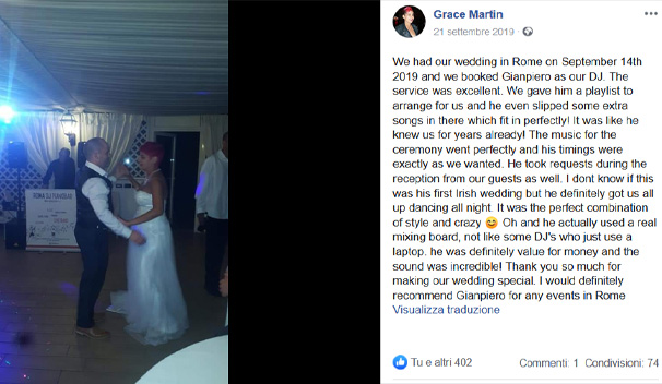 Grace Martin wedding review Dj Gianpiero Fatica Italy