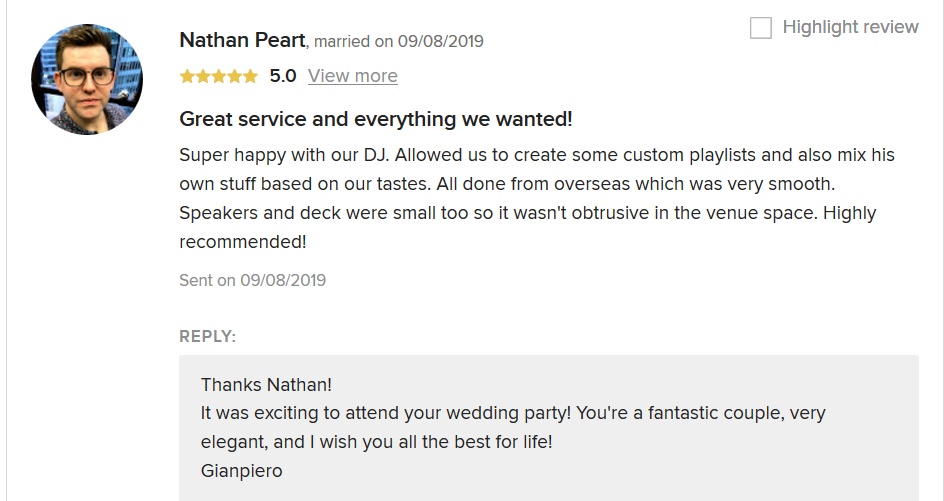 Review from Nathan Pearth on Weddingwire for the dj service in Italy of DJ Gianpiero Fatica